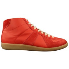 MAISON MARGIELA Size 10.5 Red Leather & Suede REPLICA High Top Sneakers