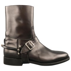 RALPH LAUREN Size 8 Black Leather Silver Pur Stirrup Harness Riding Boots