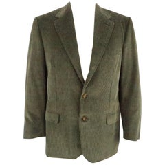 WILKES BASHFORD by BRIONI 42 Regular Olive Corduroy Notch Lapel Sport Coat