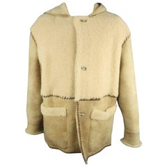 ROBERT COMSTOCK 42 Natural Solid Shearling Hooded Coat