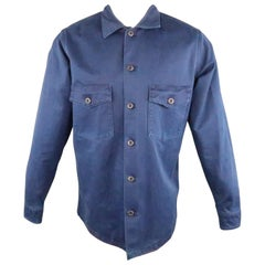 BLUE BLUE JAPAN Size M Indigo Solid Cotton Button Up Long Sleeve Shirt