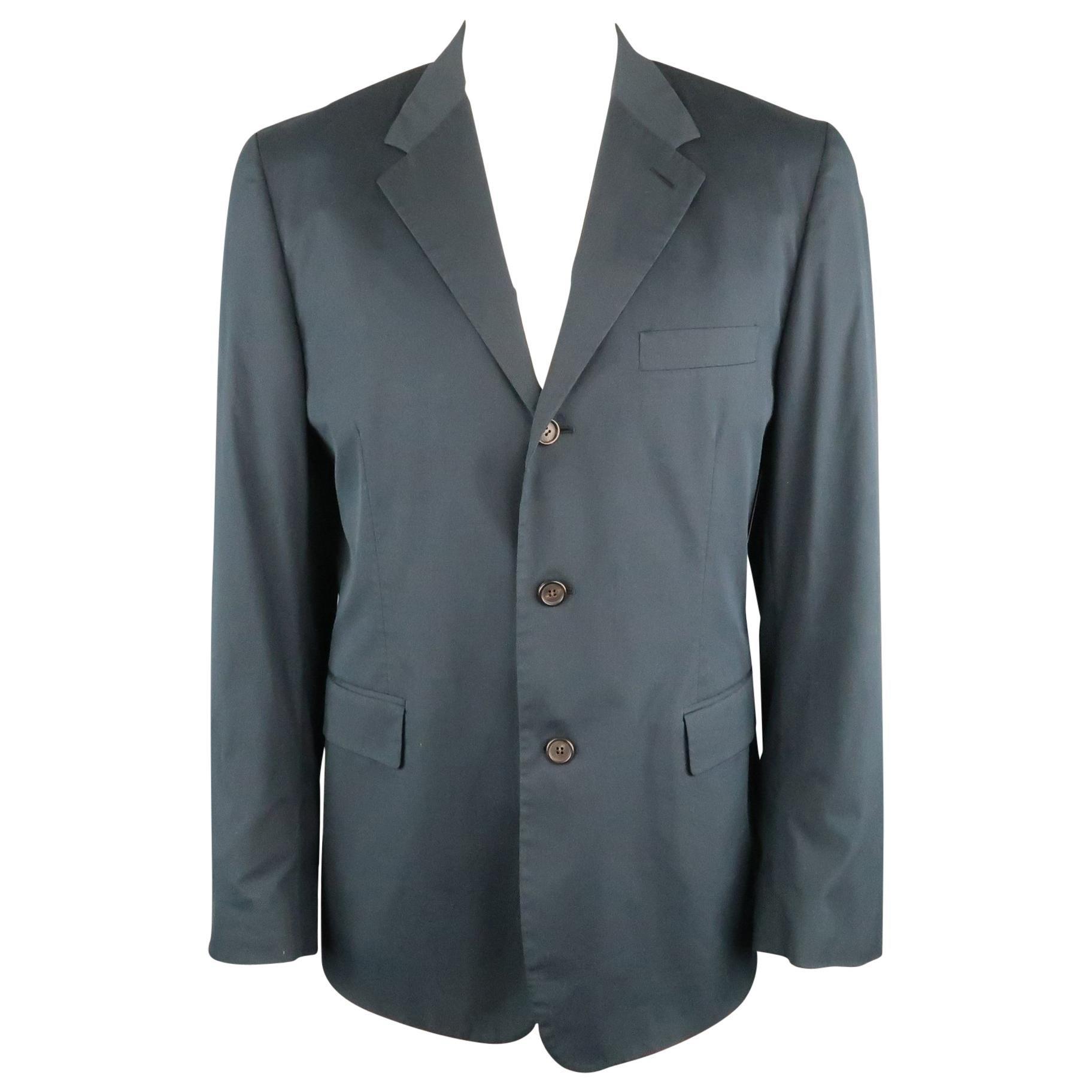 PRADA 44 Regular Navy Solid Cotton Blend Notch Lapel Sport Coat