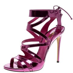 Casadei Metallic Pink Leather Cut Out Peep Toe Sandals Size 41