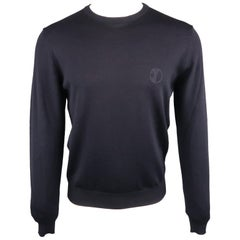 VERSACE -COLLECTION Size L Navy Solid Merino Wool Crew-Neck Pullover
