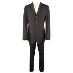 JIL SANDER 40 Black Solid Virgin Wool 36 36 Notch Lapel Suit