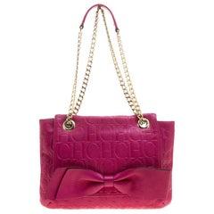Carolina Herrera Hot Pink Monogram Leather Audrey Shoulder Bag