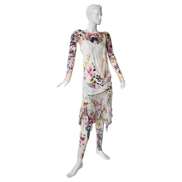 "Christian Dior Galliano ""J'Adore"" 2004 Tattoo Leggings Bodysuit Flapper Dress For Sale"