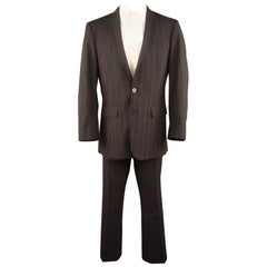 J. LINDEBERG 40 Black & Red Pinstripe 32 32 Notch Lapel Suit