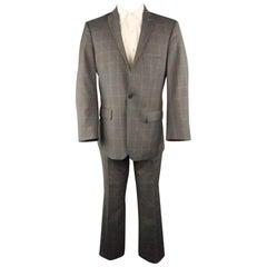 J. LINDEBERG 40 Gray Pinstripe Polyester Blend 32 32 Peak Lapel Suit