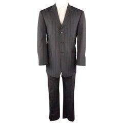PAUL SMITH 40 Gray & Blue Stripe Viscose 34 30 Notch Lapel Suit