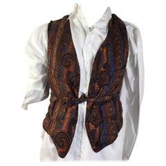 Mens Vintage Hermes Silk Paisley Vest