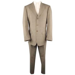 PAUL SMITH 40 Brown Solid Rayon 32 30 Notch Lapel Suit