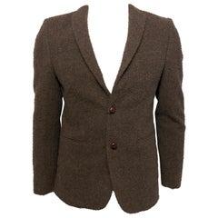 Tessilnova Mens 46 Textured Brown Wool Jacket