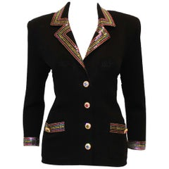 St. John Black Knit With Sequined Collar & Cuff Jacket