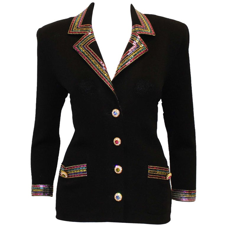 0b7d99c18 St. John Black Knit With Sequined Collar and Cuff Jacket For Sale at 1stdibs