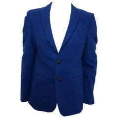 Tessilnova Mens 52 Textured Blue Wool Jacket