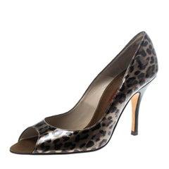 Carolina Herrera - Peeptoe-Pumps aus Leder mit Leopardenmuster in Größe 39