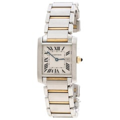 Cartier White 18K Yellow Stainless  Francaise 2465 Women's Wriistwatch 25 mm