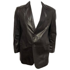 Giorgio Armani Mens 52 Leather Blazer