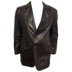 Giorgio Armani Mens 52 Leather Blazer