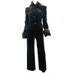 Carolina Herrera Pant Suit with Fur Trim