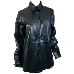 Vera Wang Collection Size 10 Leather Button Down