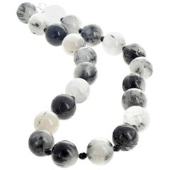 "Gemjunky Dalmation Collection Dendritic Black & White 21"" Quartz Necklace"
