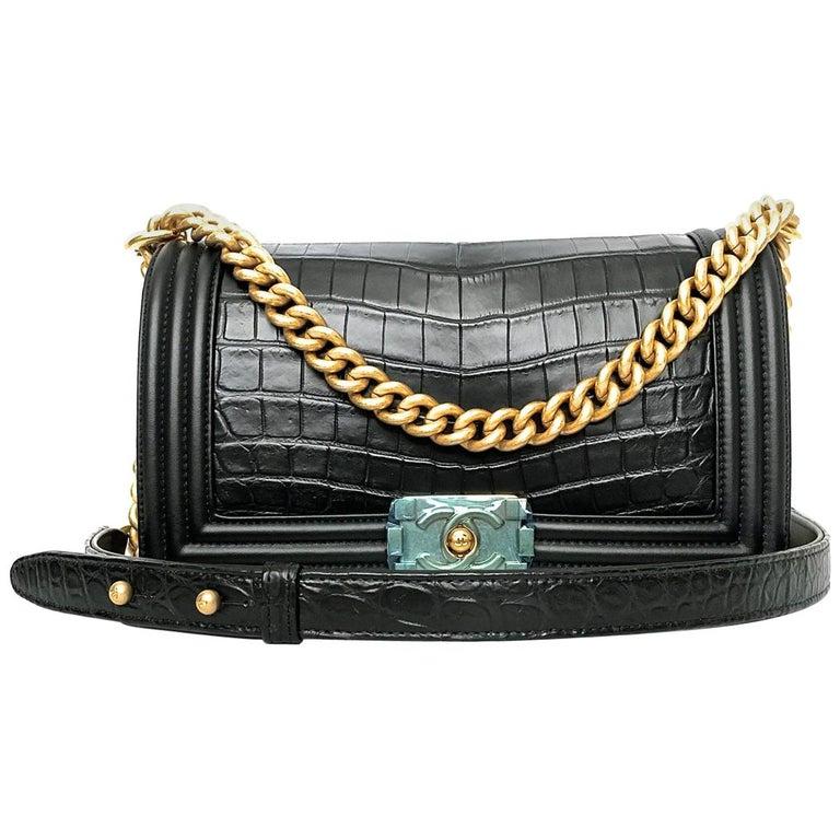 4c6a1705a333 Chanel Le Boy Matte Black Alligator Medium Bag Very Rare New For Sale