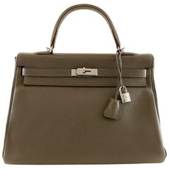 Hermès Graphite Clemence 35 cm  Kelly Bag