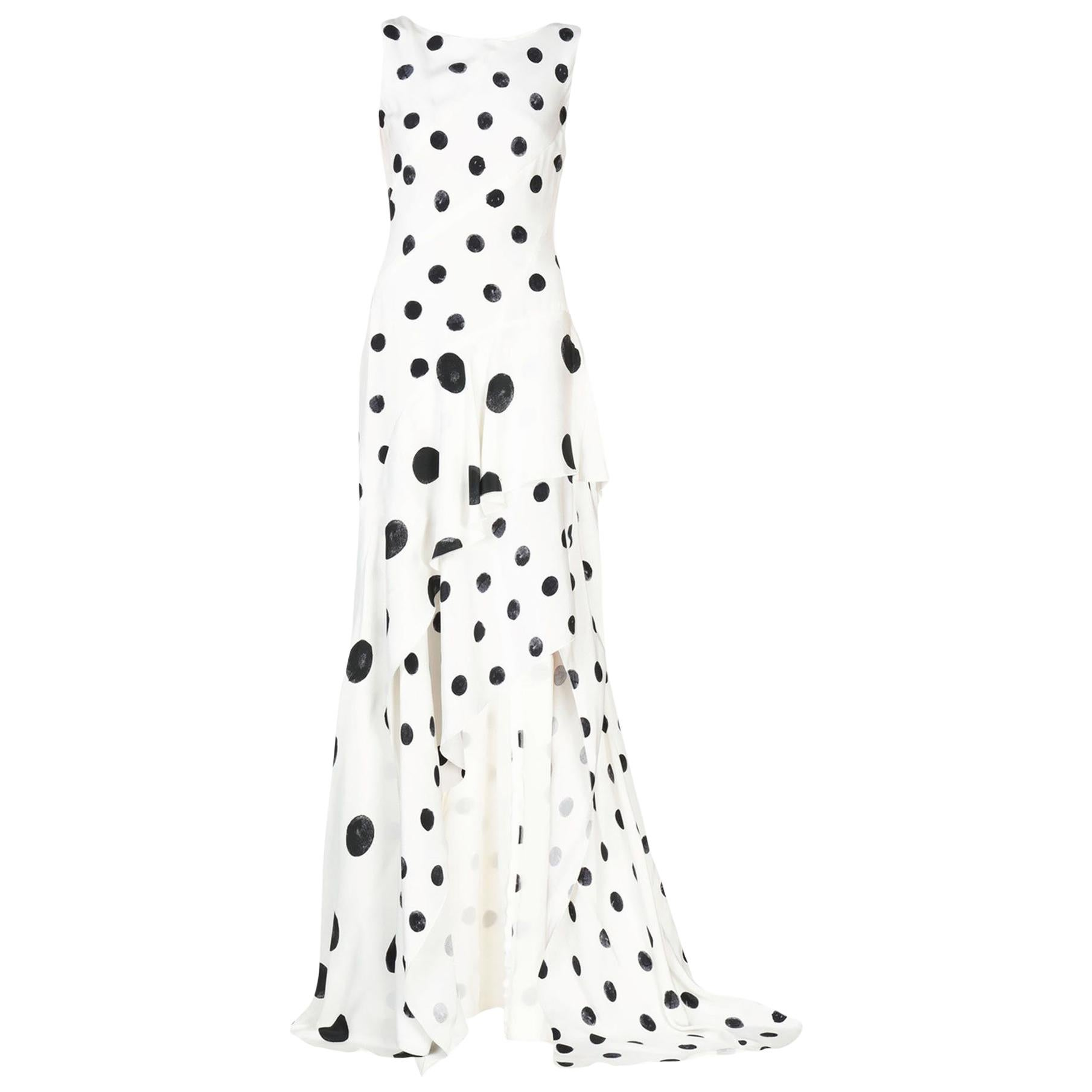 New Oscar De La Renta White Polka Dot Silk Crepe Tiered Skirt Dress Gown size 4