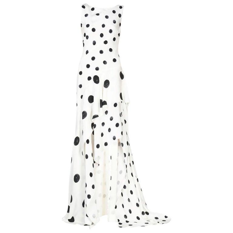 New Oscar De La Renta White Polka Dot Silk Crepe Tiered Skirt Dress Gown size 4 For Sale