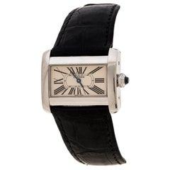 Cartier Creme Edelstahl Tank Divan 2599 Damen Armbanduhr 31 mm