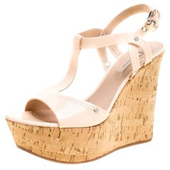 Casadei Pale Pink Patent Leather Cork Wedge T Strap Sandals Size 41