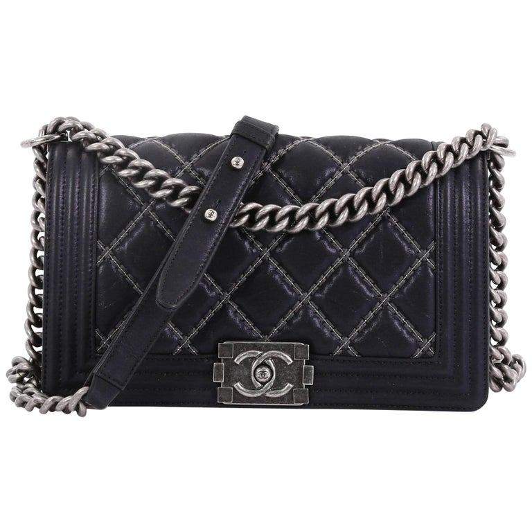 4f0942ba9c59 Chanel Double Stitch Boy Flap Bag Quilted Calfskin Old Medium For Sale