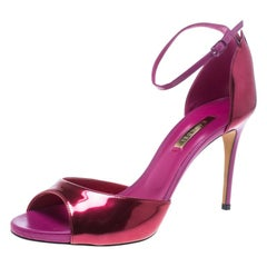 Casadei Metallic Pink Leather Candylux Ankle Strap Peep Toe Sandals Size 38.5