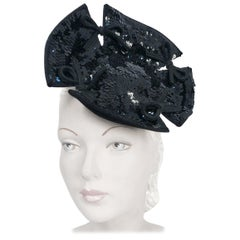 1940s Black Sequin Cocktail Hat