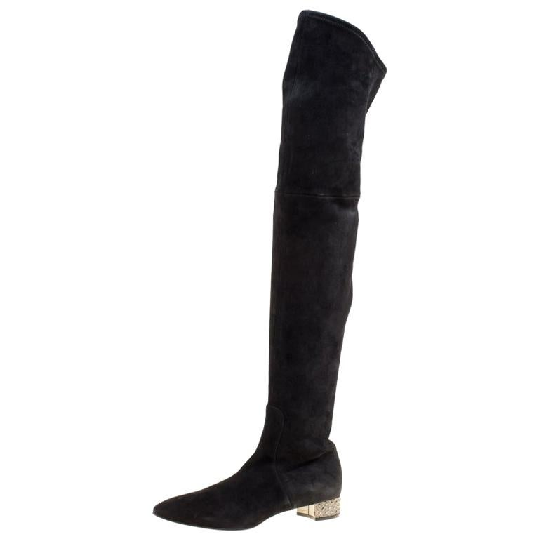 295a1d1194d0 Casadei Black Suede Crystal Embellished Heel Over The Knee Boots Size 38.5 For  Sale. Stylish and sophisticated ...