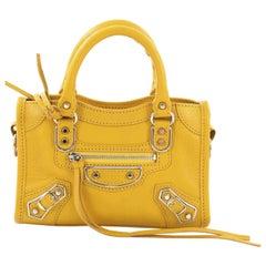 Balenciaga City Classic Studs Metallic Edge Handbag Leather Nano