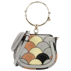 Chloe Nile Patchwork Crossbody Bag Studded Leather with Suede Small Description