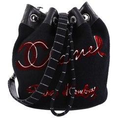 Chanel Paris-Hamburg Drawstring Bucket Bag Embroidered Wool Small