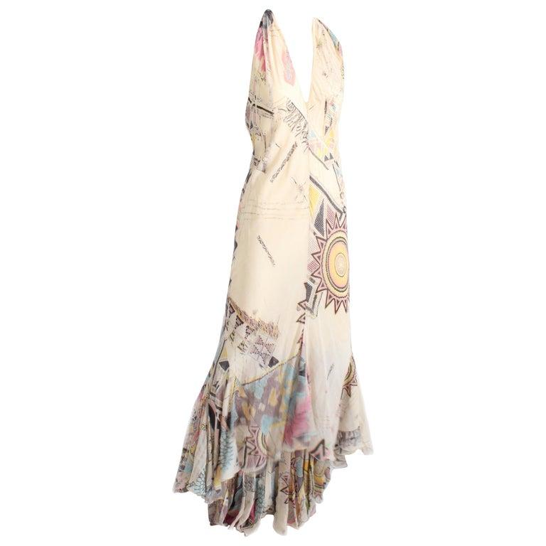 Roberto Cavalli Silk Chiffon Halter Dress Hi Lo Ruffle Mermaid Hem M  For Sale