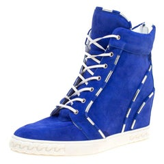Casadei Blue Suede High Top Wedge Sneakers Size 40