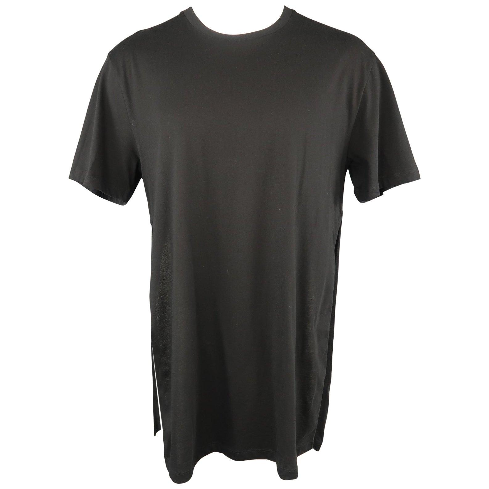 GAULTIER2 by JEAN PAUL GAULTIER Size XS Black Cotton Crew-Neck Slit Side T-shirt