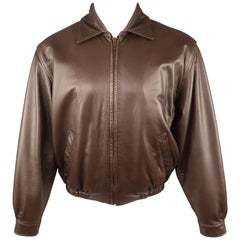 GOLDEN BEAR S Brown Solid Leather Zip Up Collared Bomber Jacket