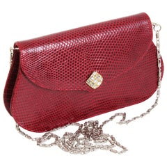 Lana of London Evening Bag Red Lizard Clutch with Chain