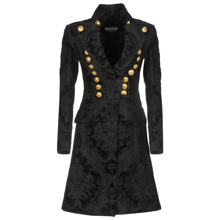 BALMAIN Black Jacquard Brocade Military Coat 36 FR NEW Retailed  $18,020 For Sale