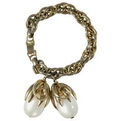 1953 Napier White Moonstone Kumquat Bracelet