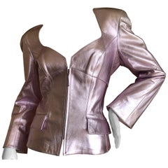 Thierry Mugler Couture Vintage 1980's Metallic Silver Leather Jacket Size 44