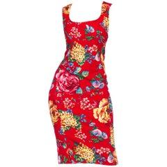 1990s D&G Dolce Floral Stretch Denim Corset Dress