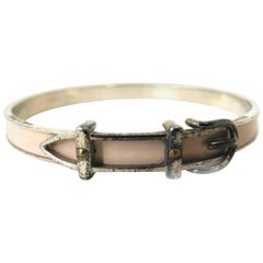 Hermès Beige X Silver Belt Motif Bangle 226428 Bracelet